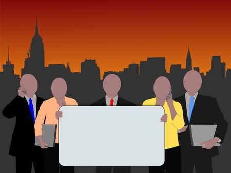 chrysler: Midtown manhattan skyline and business team with blank sign for text