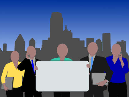 Dallas skyline and business team with blank sign for text photo