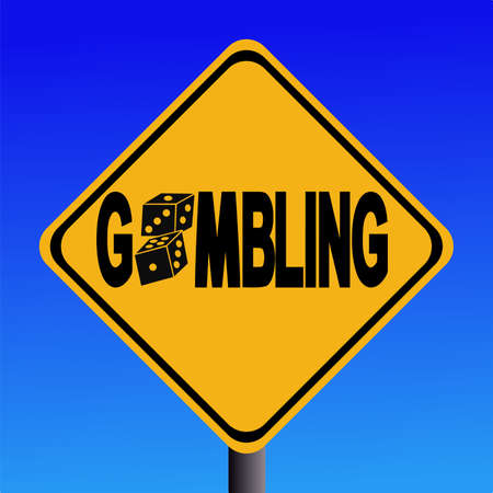 obsession: warning gambling sign with two dice illustration Stock Photo