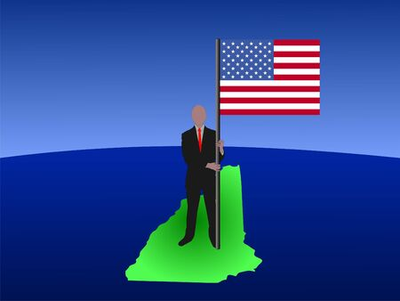 business man standing on map of New Hampshire with flag photo