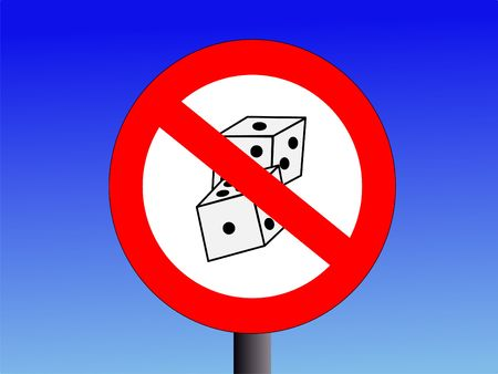 vice: no gambling sign with two dice illustration