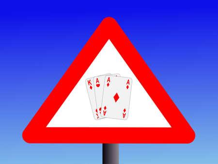 warning gambling sign with three cards illustration Stock Illustration - 2712774