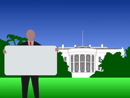 Man with blank Sign outside White House Washington DC Stock Photo - 2709249