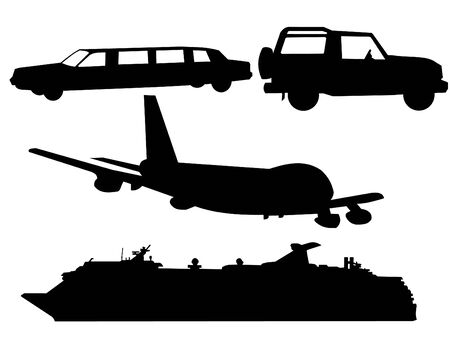 limo: transportation silhouettes plane, cruise ship, limo and SUV Stock Photo