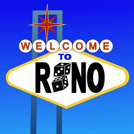 reno: welcome to Reno sign with dice illustration