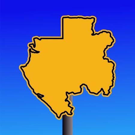 gabon: yellow Gabon map warning sign on blue illustration