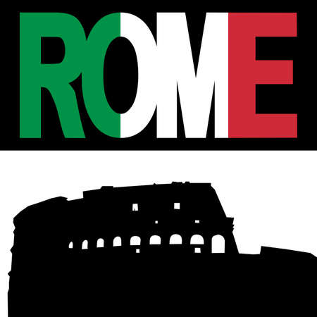 colloseum: silhouette of Colosseum Rome with Rome flag text illustration