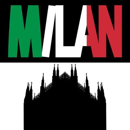 silhouette of Duomo Milan with Milan flag text illustration  illustration