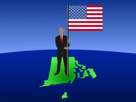 business man standing on map of Rhode Island with flag photo