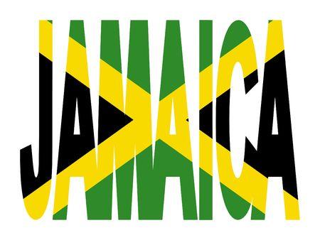 jamaican: Jamaica text with Jamaican flag illustration Stock Photo