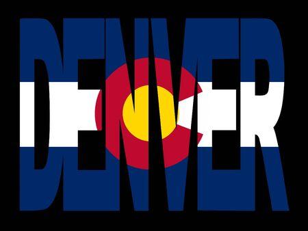 Denver texto con bandera del Estado de Colorado ilustración  Foto de archivo - 2725166