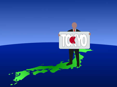business man standing on map of Japan with Tokyo text sign photo