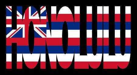 Honolulu Hawai estado texto con bandera ilustración Foto de archivo - 2725192