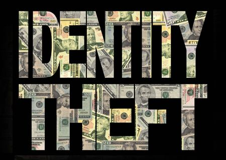 Identity theft text with American dollars background photo