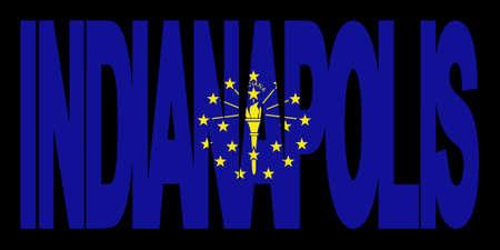Indianápolis texto con bandera del Estado de Indiana ilustración  Foto de archivo - 2725183