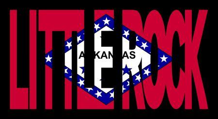 Little Rock Arkansas texto con el estado del pabellón ilustración  Foto de archivo - 2725190