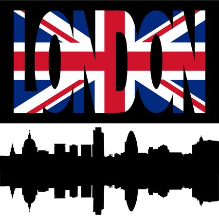 gherkin building: silhouette of London Skyline and London flag text illustration