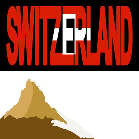 swiss alps: Matterhorn and Switzerland flag text illustration