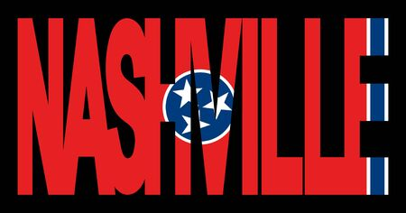 tennessee: Nashville text with Tennessee state flag illustration