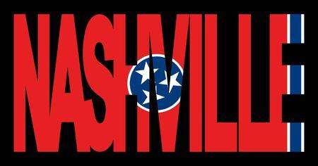 tennesse: Texto de Nashville con la ilustraci�n de la bandera del estado de Tennessee
