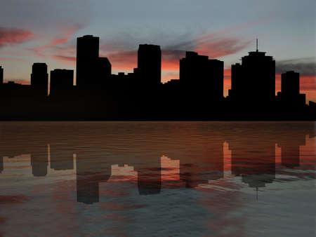 New Orleans skyline reflected in Mississippi River at sunset illustration illustration