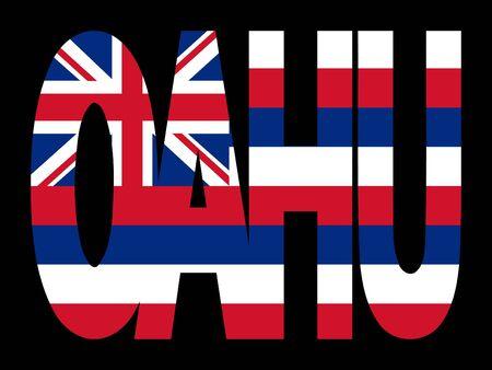 oahu: Oahu text with Hawaiian state flag illustration
