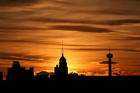 San Antonio at sunset with colourful sky illustration Stock Photo