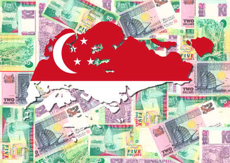 Map and flag of Singapore with collage of Singapore dollars
