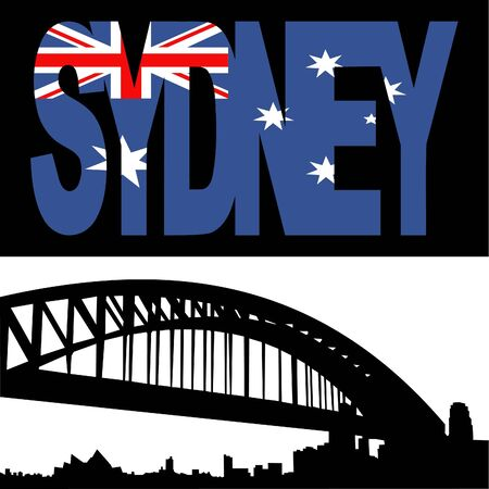 port: Sydney harbour bridge with Sydney flag text illustration