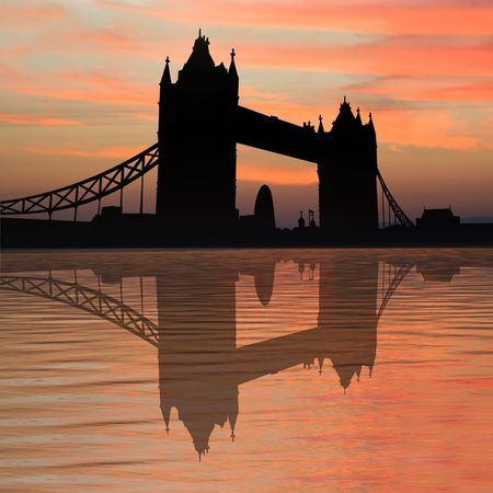 gherkin building: Tower Bridge London reflected in River Thames at sunset illustration Stock Photo