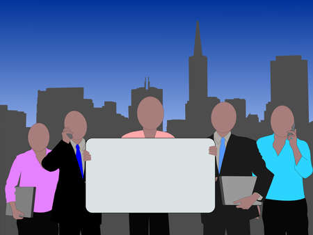 business team with blank sign and San Francisco skyline Stock Photo - 2725172