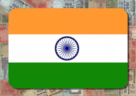 Rounded rectangle in colours of Indian flag with Rupees illustration illustration