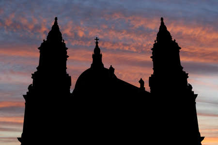 st pauls: St Pauls cathedral London at sunset with beautiful sky