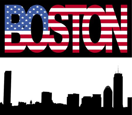 Boston skyline with Boston flag text illustration Stock Illustration - 2729740