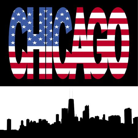 Chicago Skyline with Chicago flag text illustration illustration