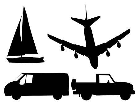 suv: transportation silhouettes plane, sailing boat, van and SUV Stock Photo