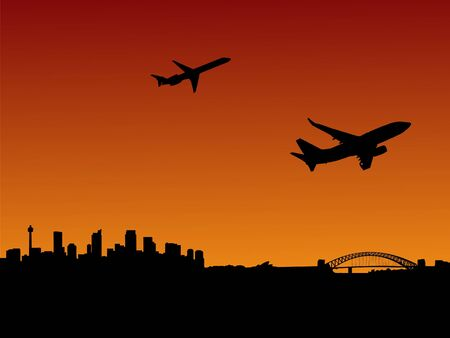 depart: planes departing with Sydney skyline at sunset