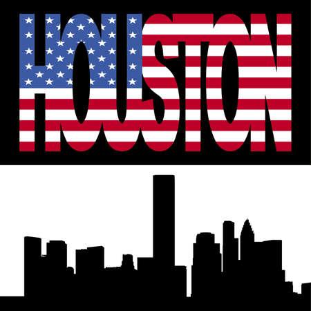 houston flag: Houston skyline with Houston flag text illustration