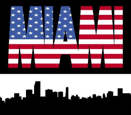 Miami skyline with Miami flag text illustration illustration