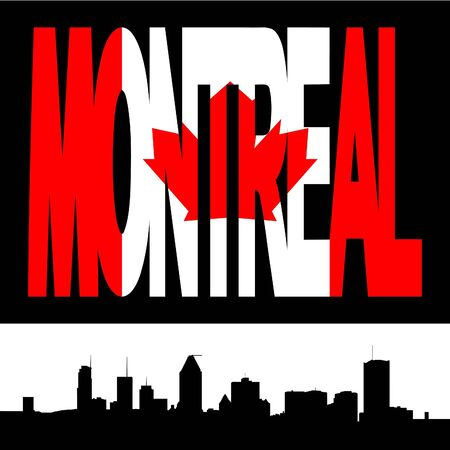 montreal: Montreal skyline with Montreal flag text illustration