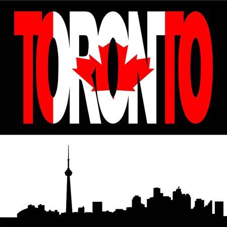 toronto: Toronto skyline with Toronto flag text illustration