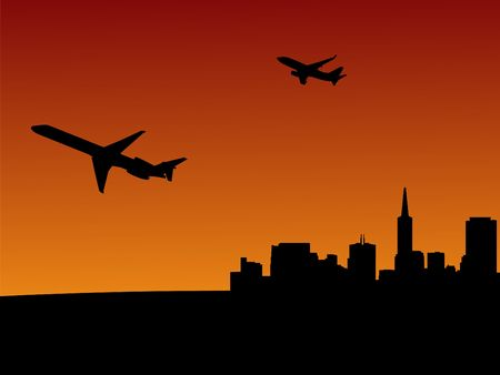 transamerica: two planes leaving San Francisco at sunset illustration Stock Photo
