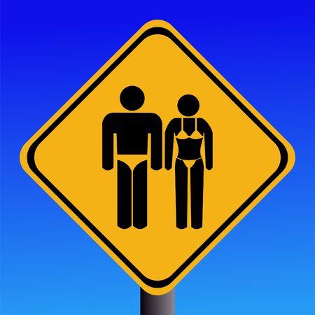 Signo de advertencia de baño con el hombre en los troncos y la mujer en bikini  Foto de archivo - 2757508