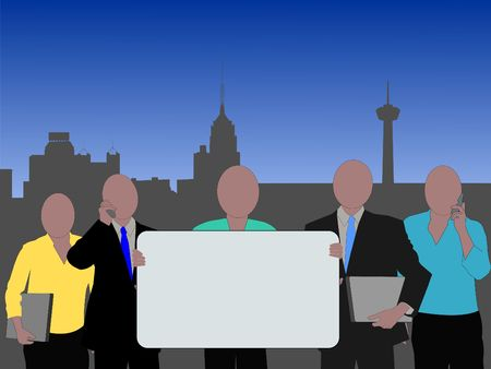 San Antonio business team with skyline and sign illustration Stock Illustration - 2757502