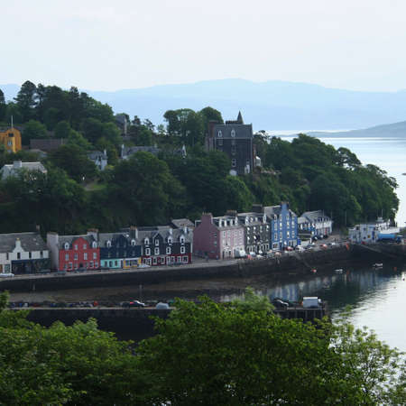mull: aerial view of Tobermory with colourful houses Mull Scotland