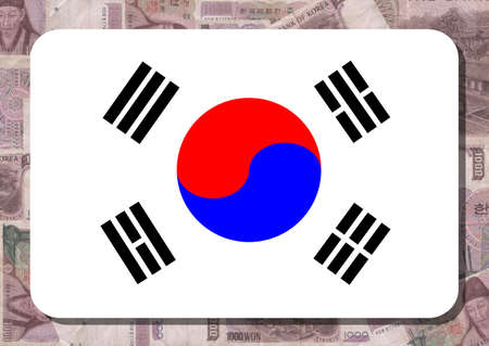 rounded rectangle: Rounded rectangle in colours of Korean flag with 1000 won notes