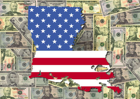 Map of Louisiana with American flag and dollars illustration illustration