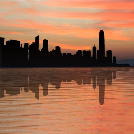 Hong Kong skyline at sunset with beautiful sky illustration
