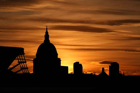 st pauls: St Pauls Cathedral and Millennium Bridge at sunset illustration Stock Photo