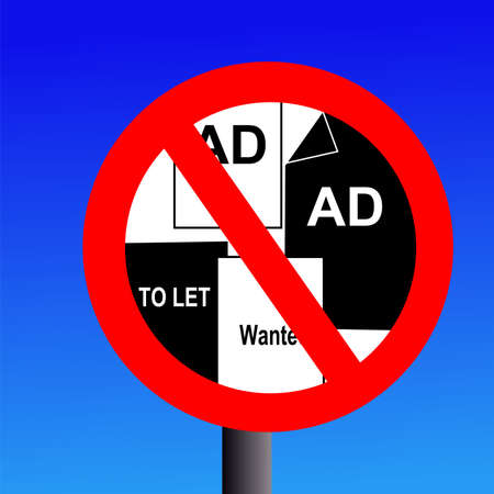 unauthorised: post no bills sign on blue illustration